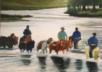 Komst van de pakpaarden in Mongolië